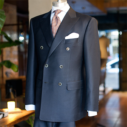 Tonga solid navy double breasted suit