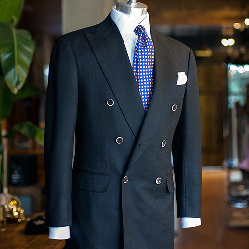 Canonico flannel solid black longturn double breasted suit