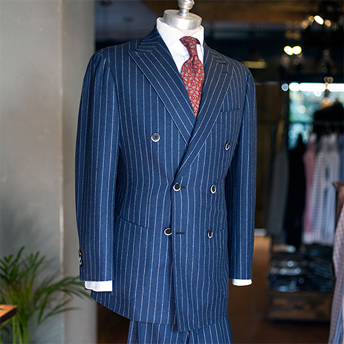 Canonico flannel navy chalkstripe dobule breasted suit