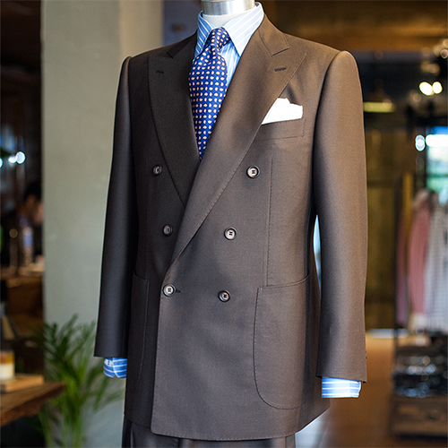 Huddersfield cloth solid brown double breasted suit